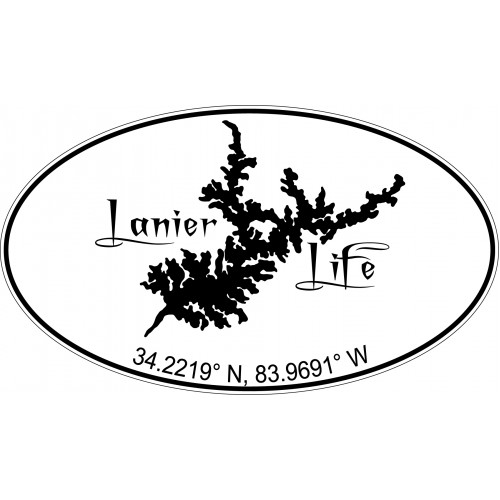 Lanier Life Geo Location Decal - Black / White